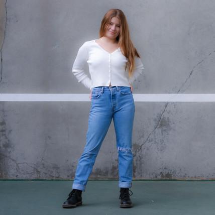 Women's Pacific Blue Medium Wash Straight Cut Jeans
