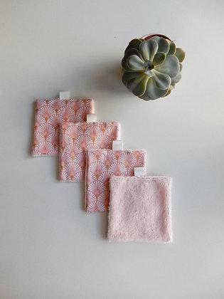 Lot de 4 carrés démaquillants éventail rose