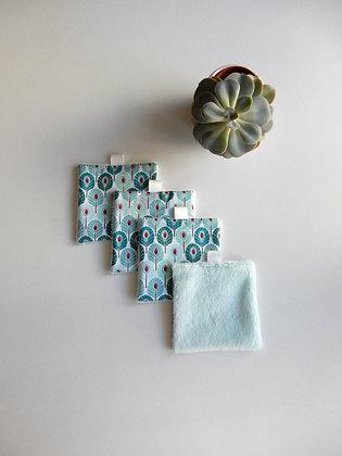 Lot de 4 carrés démaquillants plumes paon bleues