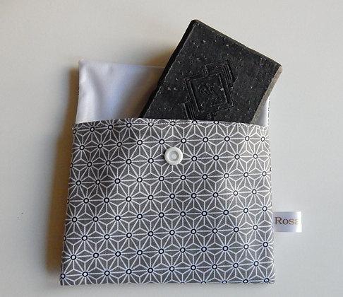 Pochette à savon origami gris
