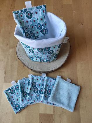 Panier + lot de 6 carrés démaquillants paon bleu