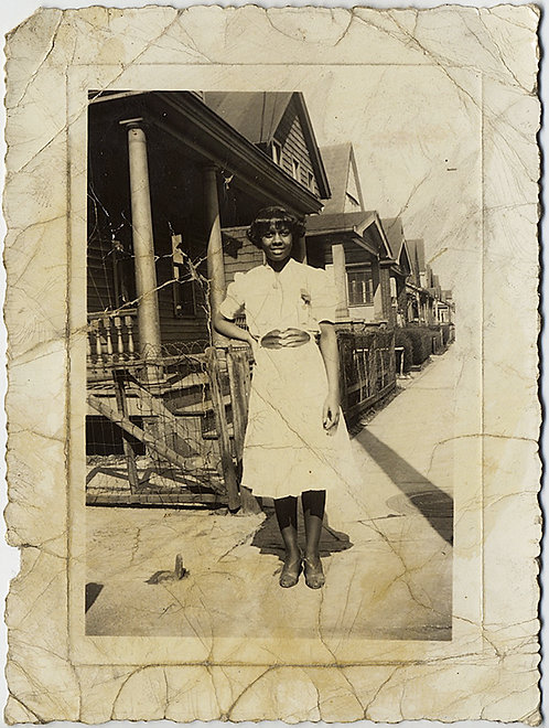 MUCH LOVED & USED portrait of YOUNG PRETTY AFRICAN-AMERICAN WOMAN & ROW HOUSES