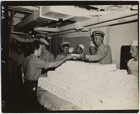 SERVICEMAN SERVES COMMANDER SUPERIOR OFFICER w SLICE of GARGANTUAN ENORMOUS CAKE