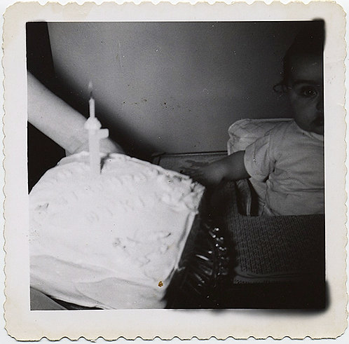 STARTLED BABY in the DARK with BIRTHDAY CAKE and CANDLE Mikie 1952