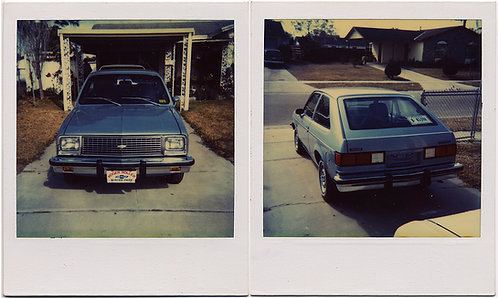 """""""MY NEW 1981 CHEVY CHEVETTE"""" TWO SUPER ANNOTATED POLAROIDS of PROUD CAR OWNER"""
