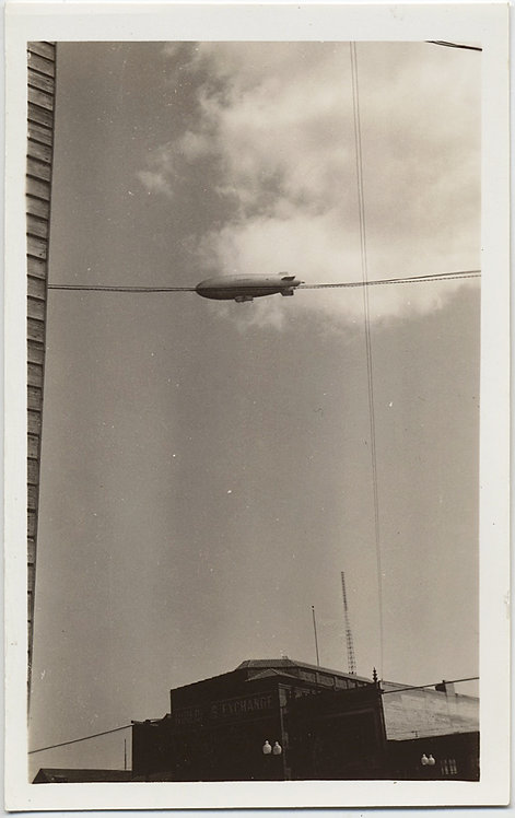 STUNNING ZEPPELIN BLIMP AIRSHIP BISECTED by TELEPHONE WIRE CLOUDS COMPOSITION