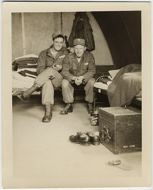 VIETNAM KOREAN WAR? ARMY BUDDIES in TENT COSY UP w LARD CAN & ARMY TRUNK