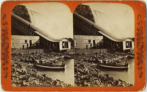 "Very large STEREOVIEW of ""SHADOW OF THE ROCK"" NIAGARA FALLS! US Falls from below"