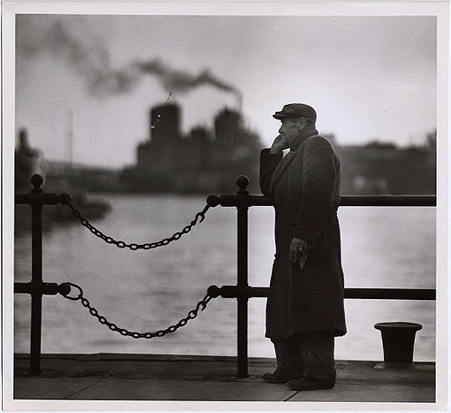 "GORGEOUS  MOODY MAN at WATER'S EDGE DOCK ""NEW YEARS"" William Klender"