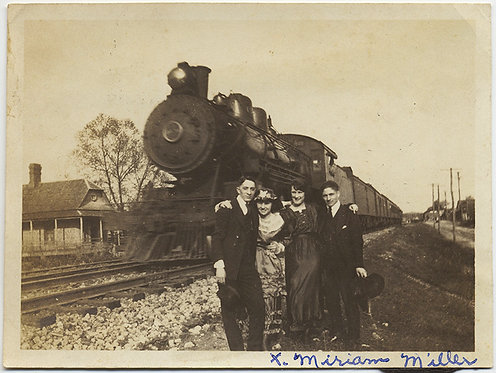 AMAZING GROUP 2 COUPLES in front of STEAM TRAIN ENGINE MIRIAM MILLER