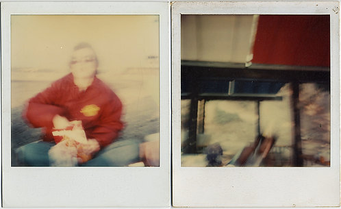 STUDY in RED 2 IMPRESSIONISTIC POLAROIDS MAN EATING POPCORN + RED ROOF