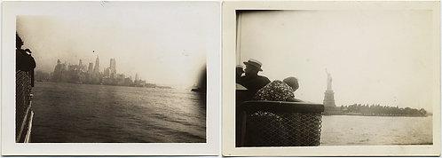 STATUE of LIBERTY NEW YORK SKYLINE fm NY HARBOR FERRY to BEDLOE'S ISLAND 1936