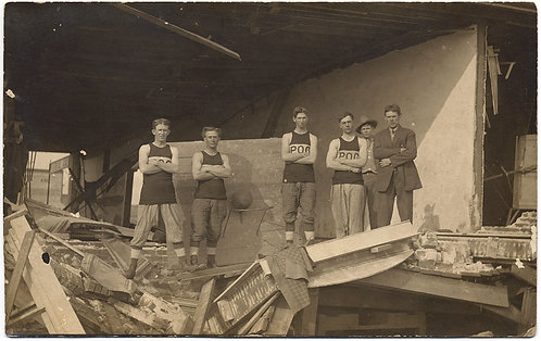 UNUSUAL STRANGE BASKETBALL TEAM POSE in DESTROYED GYM BUILDING EARTHQUAKE? RPPC