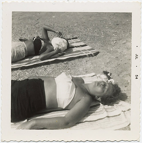 SUNBATHING WOMEN SEXY EXPOSED MIDRIFFS COVER and HIDE FACES ASLEEP SLEEPERS