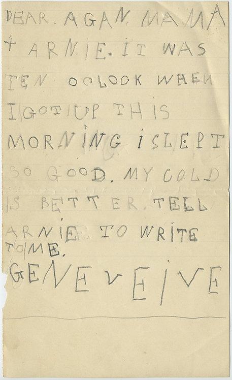 """LITTLE GIRL """"GENEVEIVE"""" WRITES an ADORABLE CHILDREN'S LETTER EPHEMERA"""