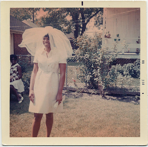 BLACK AFRICAN AMERICAN BACKYARD BRIDE in AWESOME VEIL
