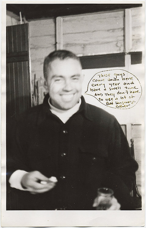 ODD HAND-DRAWN BUBBLE CAPTION on SOFT-FOCUS SMILING MAN PORTRAIT