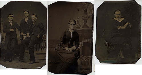 LOT of 3 TINTYPES! WOMAN 3 MEN and  ADORABLE CHILD on POSING CHAIR