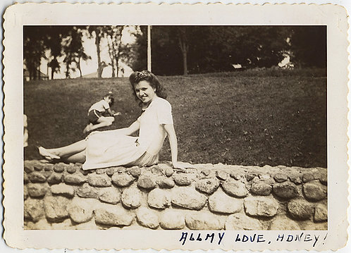 GREAT COMPOSITION! WOMAN HONEY on STONE WALL STRANGE BOY on GRASS BEHIND