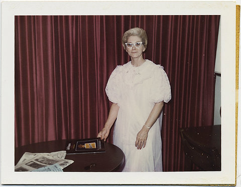 FABULOUS! Woman in CATS EYE GLASSES in NIGHTGOWN and BURGANDY CURTAIN! Polaroid