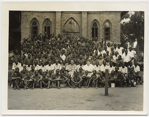 HUGE GROUP PHOTO of BLACK MEN 2 WHITE MEN MISSIONARIES outside AFRICAN CHURCH