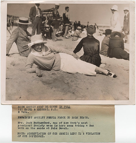 PRESS PHOTO VINTAGE PALM BEACH SOCIETY WOMAN LOUNGES on SAND Mrs Jack Rutherford
