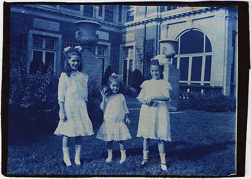 SUPERB RICH TONE CYANOTYPE THREE LITTLE GIRLS in WHITE DRESSES with BALL MANSION