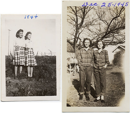 2 YOUNG WOMEN TWINS or TWINNING WEAR SAME MATCHING CLOTHING XMAS 1945 & 1944