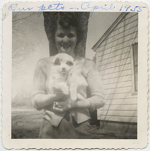 LOVELY SMILING PRETTY WOMAN HOLDS GLOWING PUPPY DOG in April 1955
