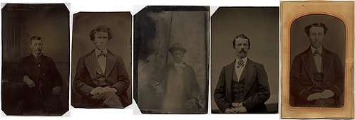 GOOD LOT of ASSORTED TINTYPES of MEN (incl ONE BLACK? SUBJECT)