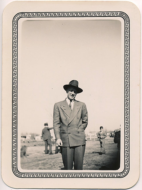 ELEGANT MAN in HAT and BLANK SKY with DECORATIVE BORDER! GORGEOUS!