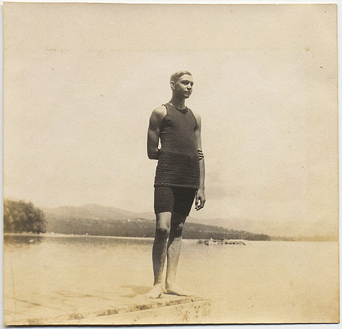 NOBLE VINTAGE SWIMMER POSES for MAGISTERIAL PORTRAIT on DOCK at LAKE