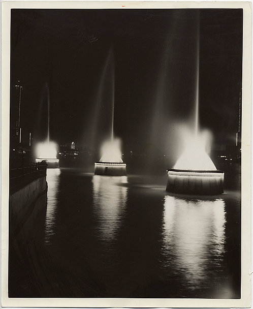 CHICAGO DAILY NEWS PRESS PRINT of LOVELY FOUNTAINS at NIGHT