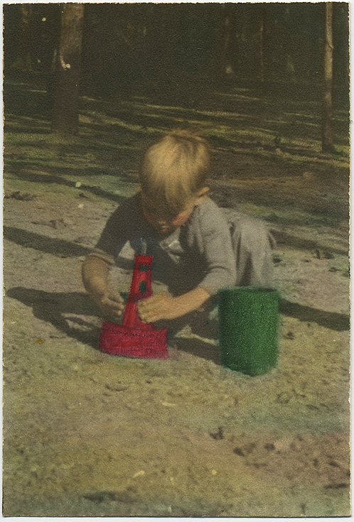 CRUDELY HAND TINTED BLONDE BOY PLAYS with RED & GREEN TOYS HAND COLORED