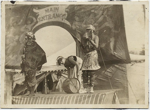 SUPERB EARLY CARNIVAL FAIR IMAGE MUSICIANS ENTERTAINERS at MAIN ENTRANCE