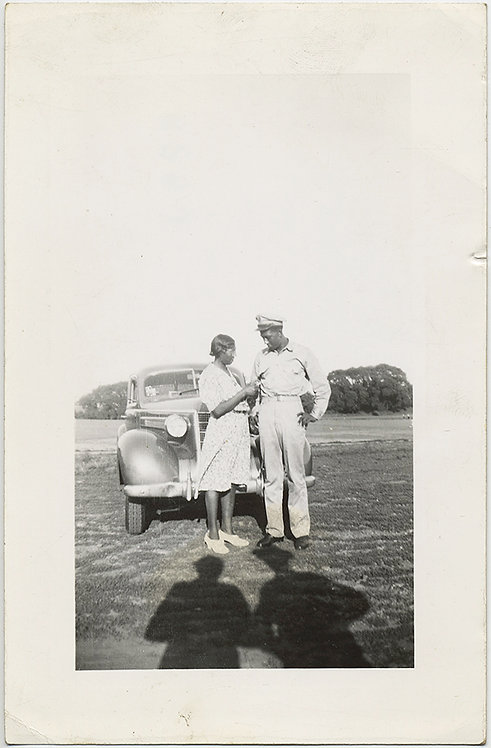 AFRICAN AMERICAN BLACK SERVICEMAN & GIRLFRIEND with VINTAGE CAR & SHADOWS