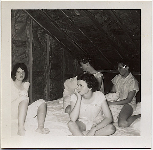 SLUMBER PARTY GIRLS in PAJAMAS HANG OUT under the EAVES RAFTERS
