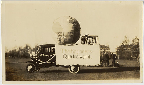 ENGINEERS RUN THE WORLD FLOAT on VINTAGE CAR TRUCK w YIN YANG HUBCAPS UNUSUAL