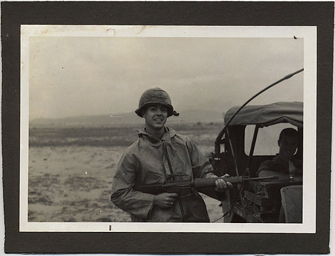 YOUNG SOLIDER with RIFLE VIETNAM? KOREA? JEEP