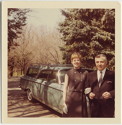 INTERESTING MID-CENTURY COUPLE in SEVERE CLOTHING & STATION WAGON 62 CHRYSLER