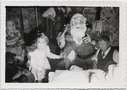 WONDERFUL XMAS DOUBLE EXPOSURE of KIDS and SANTA and INTERIOR and !!!