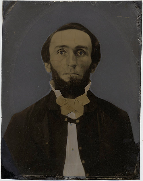 Painted Full Plate Tintype: BEARDED MAN with CRAQUELURE!