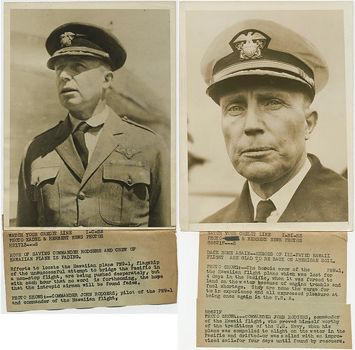 PRESS PHOTO LOST & FOUND TRANSPACIFIC HAWAII FLIGHT RECOVERED CAPTAIN RODGERS 2