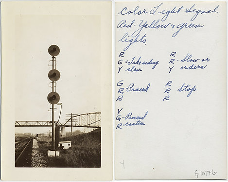 RAILROAD SWITCH LIGHTS GRAPHIC COMPOSITION w AWESOME CAPTION KEY on VERSO