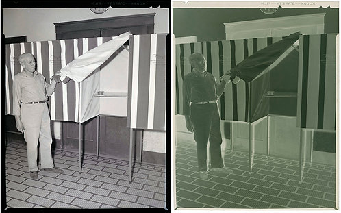 LARGE NEGATIVE MAN UNVEILS STATE of the ART VOTING BOOTH w ASHTRAY 1954