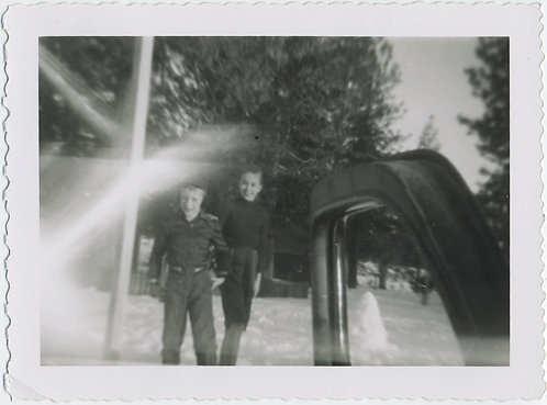 LENS FLARE!  LITTLE BOYS in SNOW LANDSCAPE SNAPPED THROUGH OPEN CAR DOOR