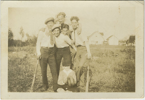 YOUNG BOYS EARLY BASEBALL PLAYERS w BATS and MITTS AFECTIONATE MEN GAY INT