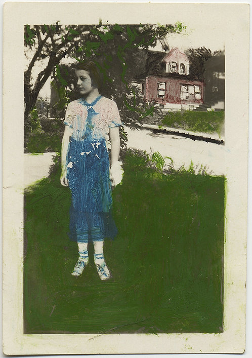 LOVELY DEEPLY PAINTED HAND TINTED LITTLE GIRL in BLUE JEANS LITTLE GEM