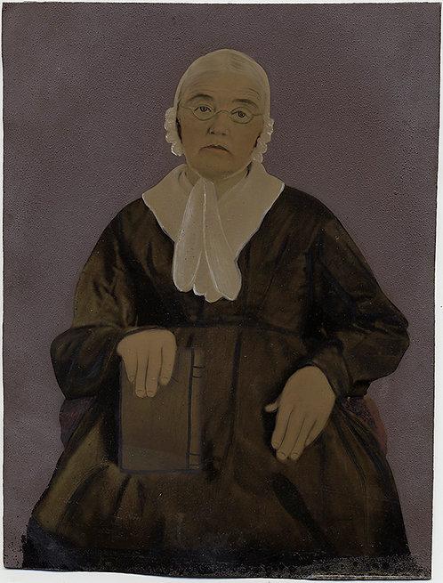 WONDERFUL STUDIOUS WOMAN PORTRAIT FULL PLATE HAND PAINTED TINTYPE