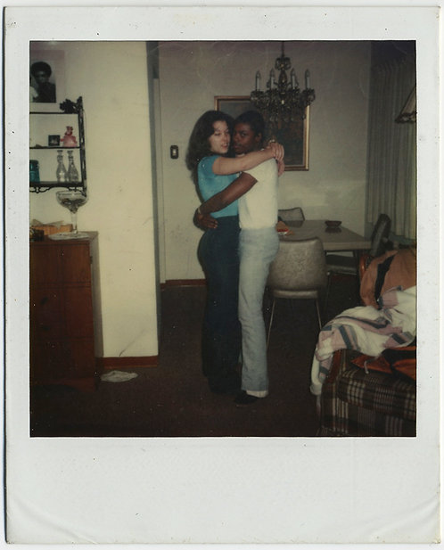BLACK and WHITE COUPLE EMBRACE in 70s POLAROID ROMANTIC INTERIOR BLISS